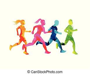 klein, rennender , maenner, gruppe, frauen