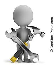 klein, reparateur, 3d, -, leute