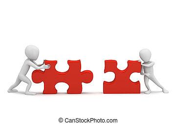 klein, sammeln, 3d, puzzle., leute