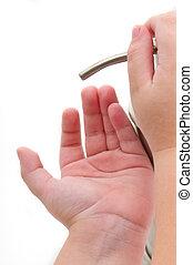 klein, sanitizer, hände