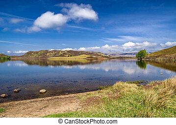 klein, -, see, landschaftsbild, schottische