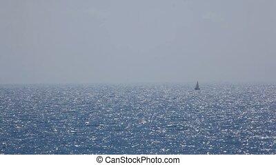 klein, segelboot, einziehen, meer, mit, glänzend,...