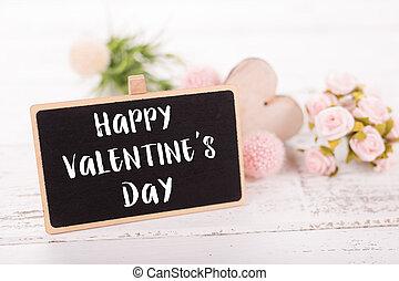 klein, tafel, für, valentines, day., hintergrund, mit, rosa, roses.