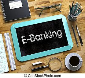 klein, tafel, mit, e-bankwesen, concept., 3d.