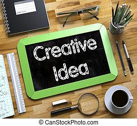 klein, tafel, mit, kreativ, idea., 3d.