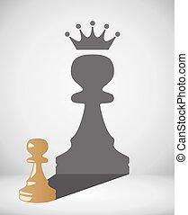 klein, vektor, schach, pfand