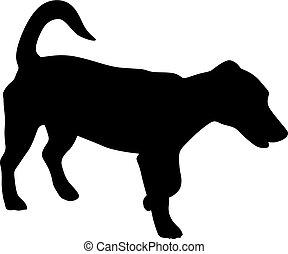klein, vektor, silhouette, hund
