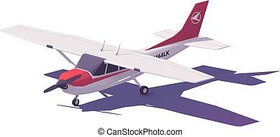 klein vliegtuig, vector, laag, poly