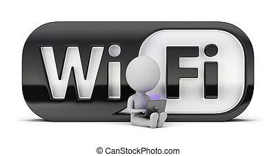 klein, wifi, -, 3d, leute