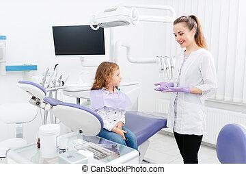 klein, zahnarzt, m�dchen, kabinett