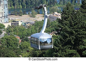 kleinbahn, or., portland, luftaufnahmen, hochklettern