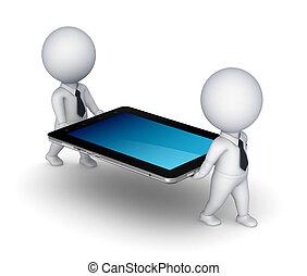 kleine, 3d, pc., tablet, mensen