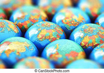kleine, aarde, bollen, met, wereldkaarten