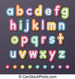 kleine, alfabet, papier, brieven