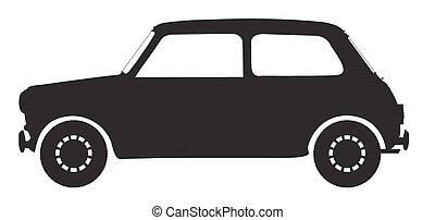 kleine auto, silhouette