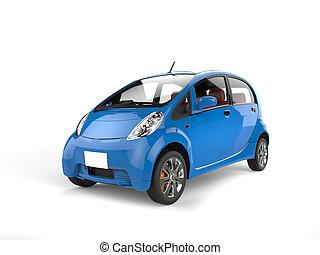 Kleine, blauwe auto.