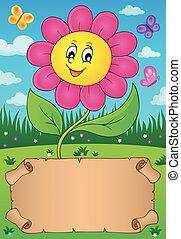 kleine, bloem, perkament, vrolijke