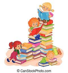kleine, boek, lezende , kinderen