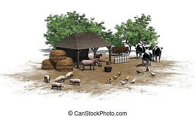 kleine, boerderij, met, dieren