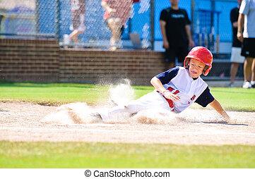 kleine bond honkbal, speler, verschuifbaar, home.
