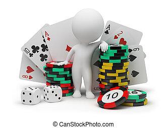 kleine, casino, -, 3d, mensen