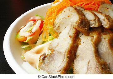 kleine, chicken, maaltijd, slaatje