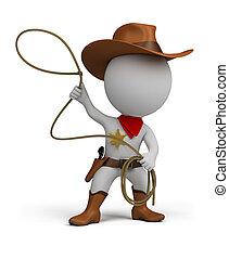 kleine, cowboy, -, 3d, mensen