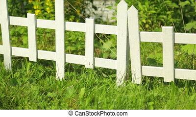 kleine, decoratief, tuin, omheining