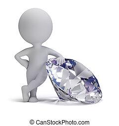 kleine, diamant, -, 3d, mensen