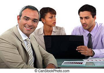 kleine, discussie, hebben, handel team