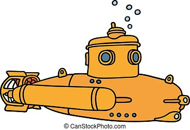 kleine, duikboot, gele