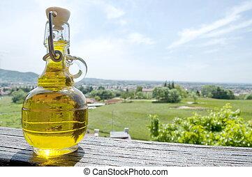 kleine, fles, van, olijvenolie