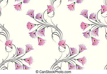 kleine, floral, vector, seamless, model