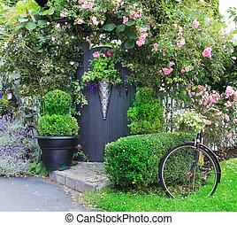 kleine, gate., tuin, het charmeren