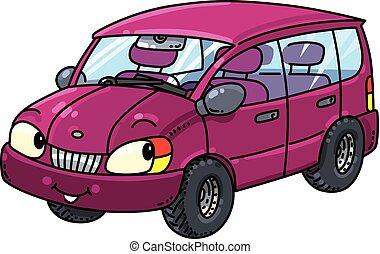 kleine, gekke , eyes, auto