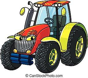 kleine, gekke , eyes, tractor