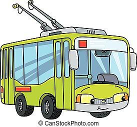 kleine, gekke , eyes, trolleybus