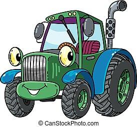 kleine, gekke , tractor, eyes.