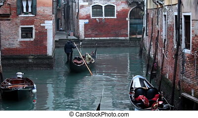 kleine, gondola, venetie, vaart