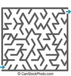 kleine, grijs, vector, maze., illustratie