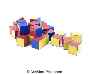 kleine, hoop, van, kleur, plastic, bakstenen, speelgoed