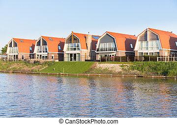 kleine, huisen, langs, vaart, hollandse