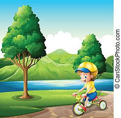 kleine, jongen, zijn, spelend, fiets