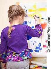 kleine, kaukasisch, kind schilderstuk, met, borstel, en, verf