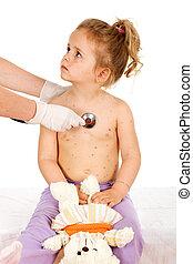 kleine, klein meisje, pox, artsen
