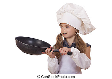 kleine kok, het braden, het glimlachen, hoedje, meisje, pan