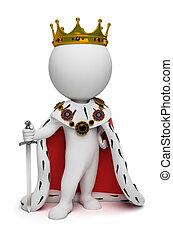 kleine, koning, 3d, -, mensen