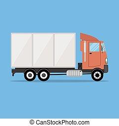 kleine, lading, moderne, vervoer, vrachtwagen