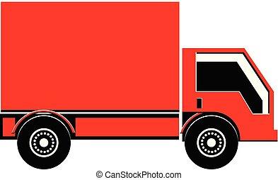 kleine, lading, vector, vrachtwagen