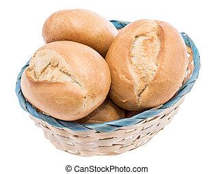 kleine, mand, gevulde, met, broodjes, op wit